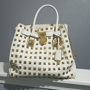 Michael Kors White Gold Studded Handbag